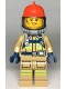 Minifig No: cty0967  Name: Fire - Reflective Stripes, Dark Tan Suit, Red Fire Helmet, Open Mouth with Peach Lips and Dirty Face, Breathing Neck Gear with Blue Airtanks