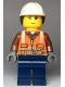 Minifig No: cty0969  Name: Construction Worker, Female, Helmet with Ponytail, Closed Mouth with Peach Lips