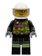 Minifig No: cty0972  Name: Fire - Reflective Stripes, Black Suit, White Helmet, Silver Sunglasses