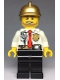 Minifig No: cty0973  Name: Fire - White Shirt with Tie and Belt and Radio, Black Legs, Gold Fire Helmet