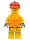 Minifig No: cty0974  Name: Fire - Reflective Stripes, Bright Light Orange Suit, Life Jacket, Red Fire Helmet