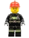 Minifig No: cty0975  Name: Fire - Reflective Stripes with Utility Belt, Red Fire Helmet, Lopsided Smile