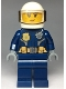 Minifig No: cty0976  Name: Police - City Helicopter Pilot Female, Gold Badge and Utility Belt, Dark Blue Legs, White Helmet, Peach Lips Crooked Smile with Freckles