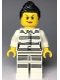Minifig No: cty0979  Name: Sky Police - Jail Prisoner 50382 Prison Stripes, Female, Scowl with Peach Lips, Black Ponytail