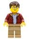 Minifig No: cty0985  Name: Truck Driver - Dark Brown Hair, Sunglasses, Dark Red Bomber Jacket, Dark Tan Legs
