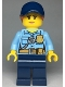 Minifig No: cty0992  Name: Police - City Officer Female, Bright Light Blue Shirt with Badge and Radio, Dark Blue Legs, Dark Blue Cap with Dark Orange Ponytail