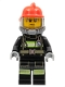 Minifig No: cty1005  Name: Fire - Reflective Stripes, Sweat Drops, Red Helmet, Breathing Neck Gear with Blue Airtanks