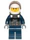 Minifig No: cty1007  Name: Police - City Pilot, Jacket with Dark Bluish Gray Vest, Dark Blue Legs, White Helmet, Scowl with Neck Bracket (for Jetpack)