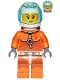 Minifig No: cty1008  Name: Astronaut - Female, Orange Spacesuit with Dark Bluish Gray Lines, Trans Light Blue Large Visor, Freckles with Smirk and Winking