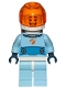 Minifig No: cty1028  Name: Astronaut - Male, Bright Light Blue Spacesuit with Blue Belt, Trans Orange Large Visor, Open Mouth Smile