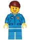 Minifig No: cty1036  Name: Astronaut - Female, Blue Jumpsuit, Reddish Brown Hair Swept Back Into Bun, Open Mouth Smile