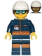 Minifig No: cty1038  Name: Rocket Engineer - Female, Dark Blue Jumpsuit, White  Construction Helmet with Dark Brown Ponytail Hair, Light Blue Goggles and Face Covered with Dirt