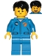 Minifig No: cty1040  Name: Astronaut - Male, Blue Jumpsuit, Black Hair Short Tousled with Side Part, Queasy and Open Mouth Smile