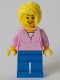 Minifig No: cty1047  Name: Toy Store Owner - Bright Pink Female Top, Blue Legs