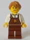 Minifig No: cty1049  Name: Barista - Female, Reddish Brown Apron with Cup and Name Tag, Medium Dark Flesh Hair