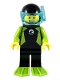Minifig No: cty1052  Name: Diver - Male, Black Wetsuit with White Logo and Lime Trim and Flippers