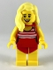 Minifig No: cty1053  Name: Swimmer - Female, Red Swimsuit with White Stripes, Bright Light Yellow Hair
