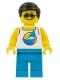 Minifig No: cty1054  Name: Beach Tourist - Male, White Tank Top with Dark Azure Sailboat, Dark Azure Legs, Black Hair