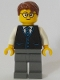 Minifig No: cty1057  Name: Launch Director - Male, Black Vest with Blue Striped Tie, Reddish Brown Short Tousled Hair, Glasses