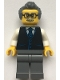 Minifig No: cty1070  Name: Launch Director - Male, Black Vest with Blue Striped Tie, Dark Buish Gray Short Swept Back with Sideburns Hair, Glasses and Moustache