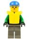 Minifig No: ext004  Name: Extreme Team - Green, Dark Gray Legs, Blue Cap, Life Jacket