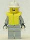 Minifig No: firec026  Name: Fire - Air Gauge and Pocket, Light Gray Legs, White Fire Helmet, Life Jacket