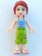Minifig No: frnd016  Name: Friends Mia, Lime Cropped Trousers, Medium Blue Top with 2 Butterflies