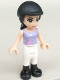 Minifig No: frnd027  Name: Friends Emma, White Riding Pants, Medium Violet Top