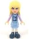 Minifig No: frnd053  Name: Friends Stephanie, Bright Light Blue Layered Skirt, Medium Lavender Jacket, Scarf