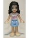 Minifig No: frnd070  Name: Friends Emma, Bright Light Blue Skirt, White Top with Pink Flowers