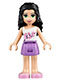 Minifig No: frnd097  Name: Friends Emma, Medium Lavender Skirt, White Top with Pink Flowers