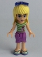 Minifig No: frnd104  Name: Friends Stephanie, Medium Lavender Wrap Skirt, Green Top with White Stripes, Sunglasses