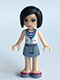 Minifig No: frnd128  Name: Friends Sandra, Sand Blue Skirt, White Vest over Striped Shirt