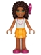 Minifig No: frnd132  Name: Friends Andrea, Bright Light Orange Layered Skirt, White Top with Necklace with Music Notes, Bow