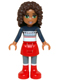 Minifig No: frnd133  Name: Friends Andrea, Red Skirt and Boots, Dark Blue Sweater Top