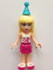 Minifig No: frnd136  Name: Friends Stephanie, Magenta Layered Skirt, White Top with Stars, Medium Azure Party Hat