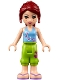 Minifig No: frnd167  Name: Friends Mia, Lime Cropped Trousers, Medium Blue Top with 3 Butterflies