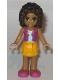 Minifig No: frnd176  Name: Friends Andrea, Bright Light Orange Layered Skirt, Magenta Vest Top