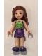Minifig No: frnd187  Name: Friends Olivia, Dark Purple Shorts, Lime Halter Top with Dark Green Spots Pattern