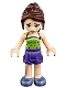 Minifig No: frnd193  Name: Friends Naomi, Dark Purple Shorts, Lime Halter Top with Dark Green Dots