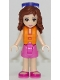 Minifig No: frnd230  Name: Friends Olivia, Dark Pink Shorts, Dark Pink and White Swimsuit Top, Life Jacket, Sunglasses