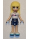 Minifig No: frnd250  Name: Friends Stephanie, Dark Blue Layered Skirt, White T-Shirt with 'I Heart HLC' Pattern