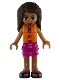 Minifig No: frnd264  Name: Friends Andrea, Magenta Layered Skirt, Dark Turquoise and Gold Top, Life Jacket