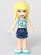 Minifig No: frnd276  Name: Friends Stephanie, Dark Blue Layered Skirt, Medium Azure and White Top