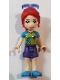 Minifig No: frnd280  Name: Friends Mia, Dark Purple Shorts, Lime Top, Red Hair, Sunglasses