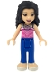 Minifig No: frnd293  Name: Friends Emma, Blue Trousers, Dark Pink Top with Bright Pink Filigree, 2 Necklaces