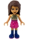 Minifig No: frnd296  Name: Friends Andrea, Dark Pink Skirt, Black Top with Gold Mesh