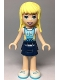 Minifig No: frnd301  Name: Friends Stephanie, Dark Blue Layered Skirt, Medium Azure Jersey with White Number '05'