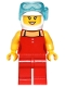 Minifig No: game010  Name: Red Female Top with 2 White Buttons and Black Straps, Red Legs, White Helmet, Scuba Mask, Peach Lips, Open Mouth Smile