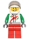 Minifig No: game014  Name: Octan - Jacket with Red and Green Stripe, Red Legs, White Helmet, Trans-Black Visor, Crooked Smile and Laugh Lines